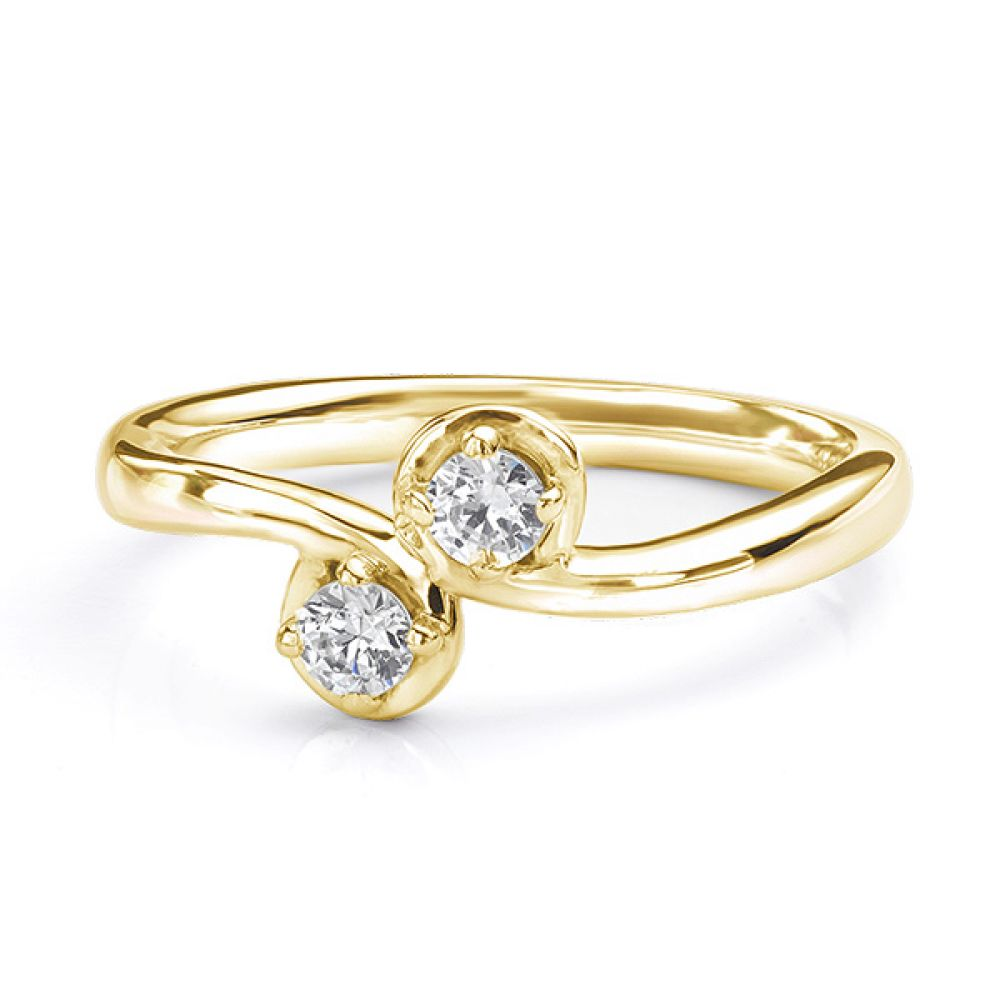 Two stone diamond twist ring Autumn yellow gold view lying down