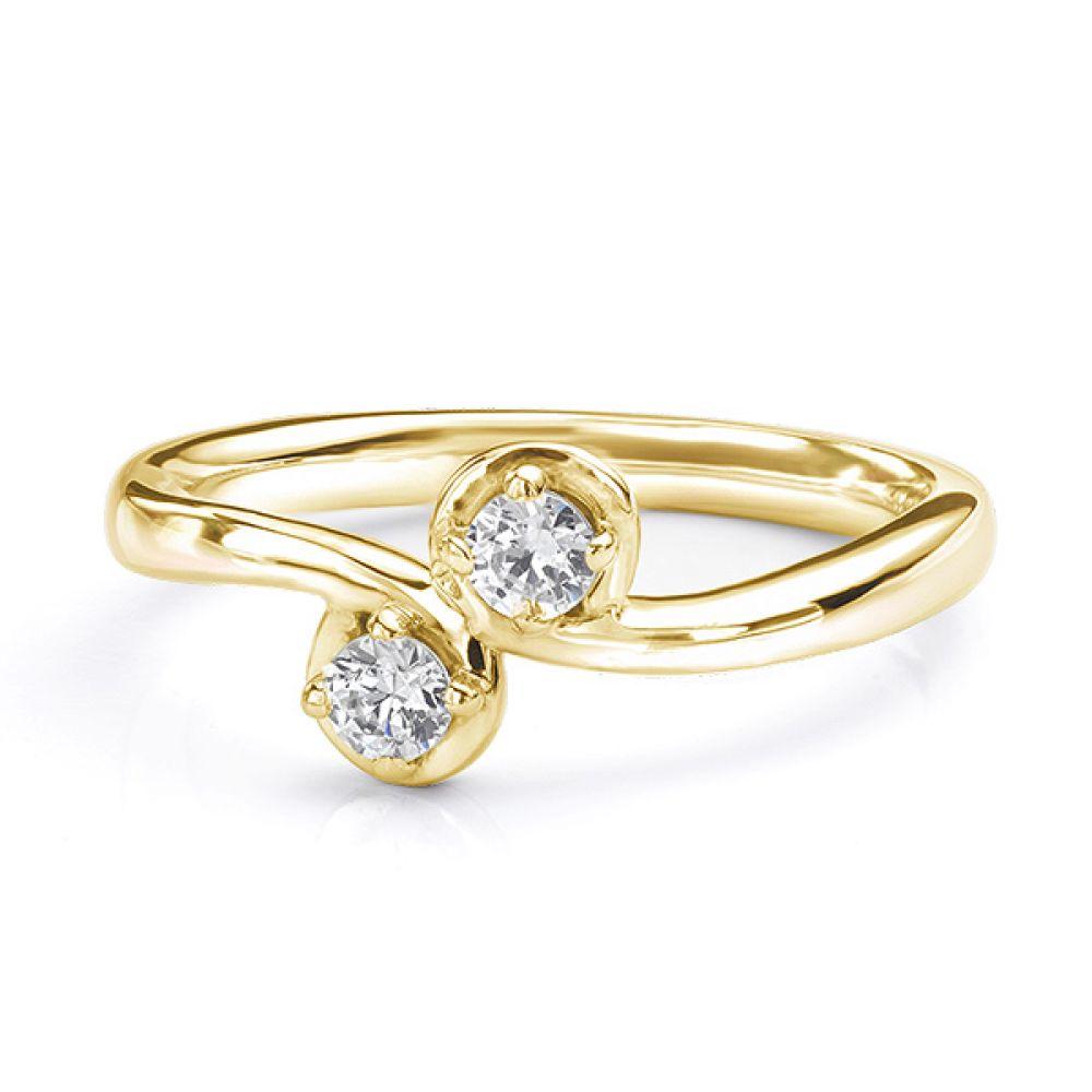 Two stone diamond twist ring Autumn yellow gold view lying down