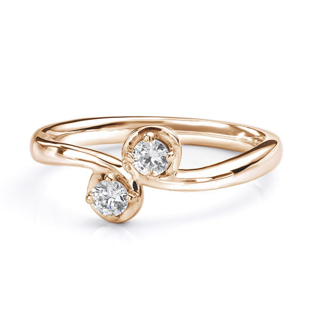 Two stone diamond twist ring Autumn rose gold view lying down
