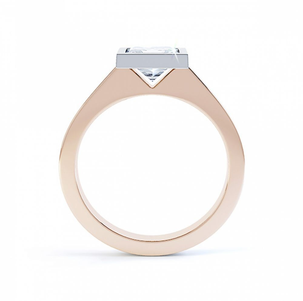 Moderne Princess cut solitaire diamond engagement ring side view rose gold