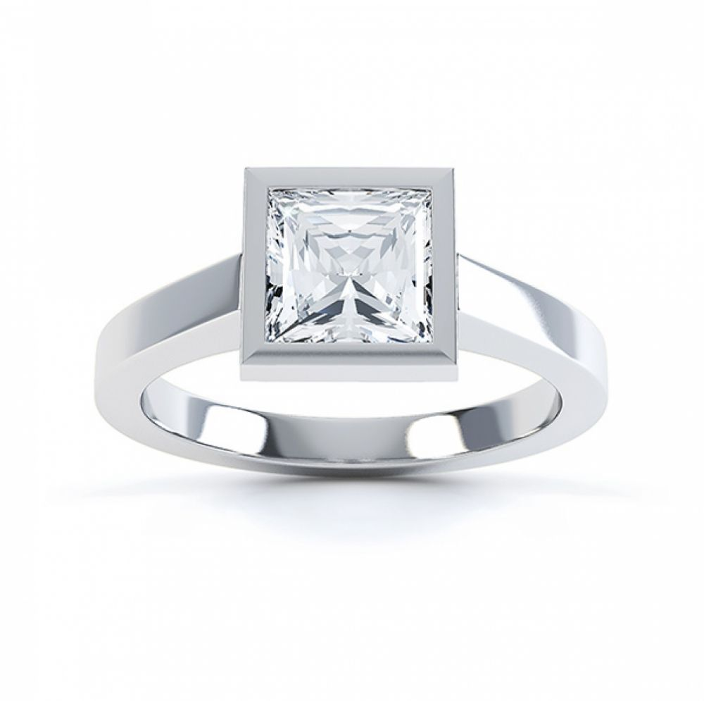 Moderne Princess cut solitaire diamond engagement ring top view white gold