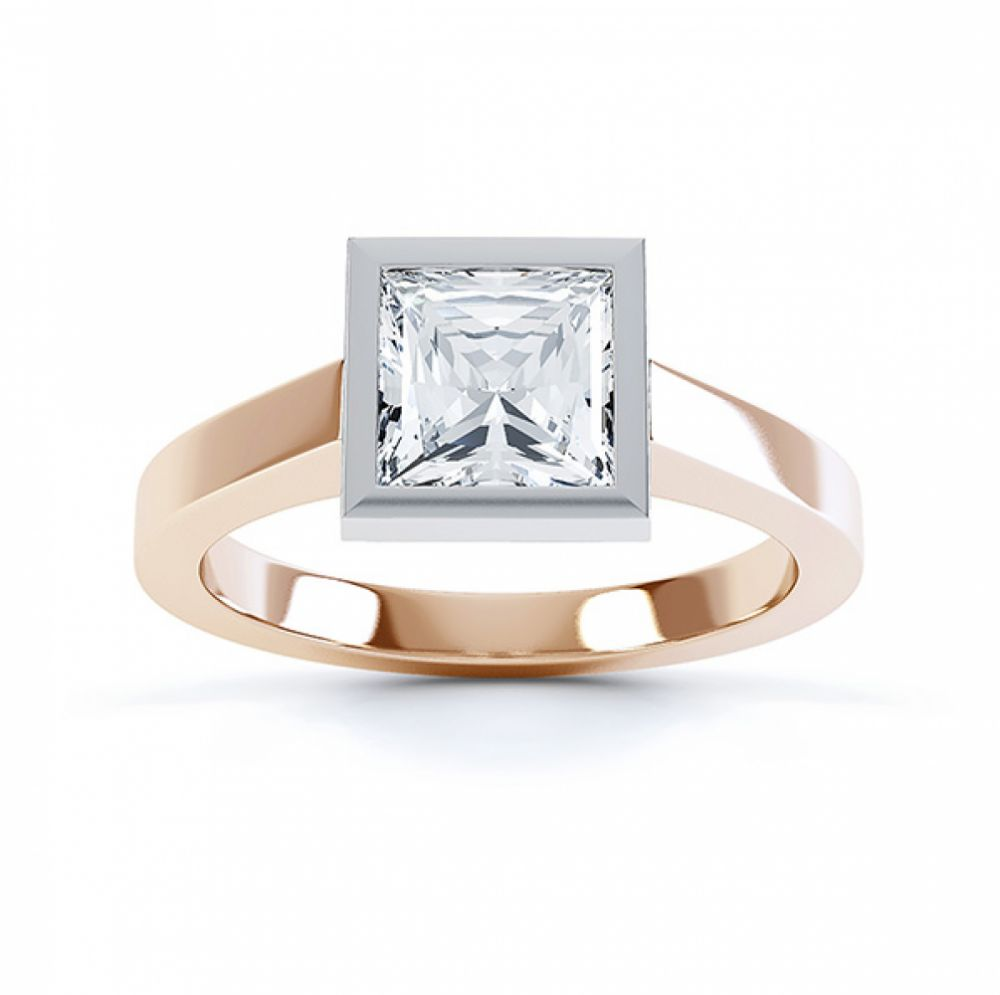 Moderne Princess cut solitaire diamond engagement ring top view rose gold