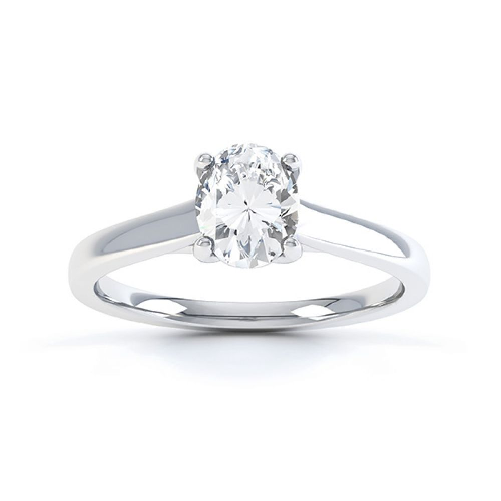 Zarah oval solitaire diamond engagement ring in white gold