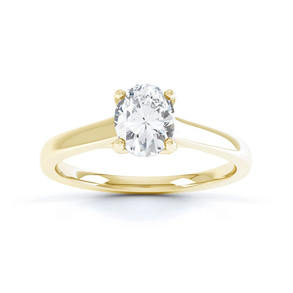Zarah oval solitaire diamond engagement ring in yellow gold top view