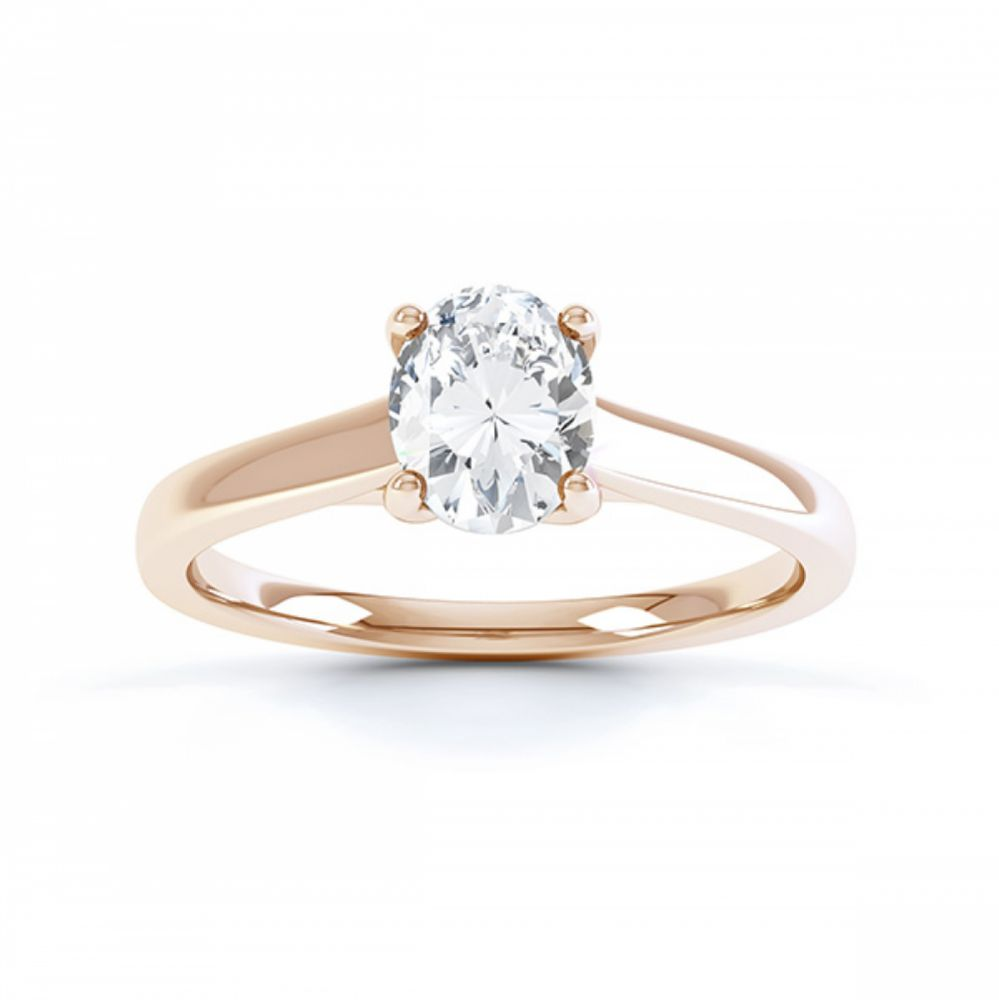 Zarah oval solitaire diamond engagement ring in rose gold top view