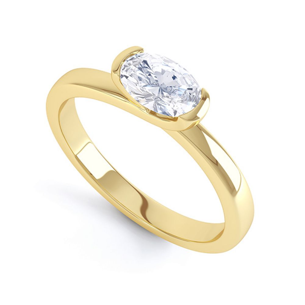 Serenity Oval Diamond Engagement Ring Yellow Gold Perspective View