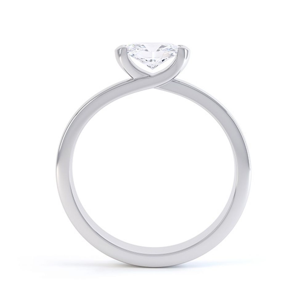 Serenity Oval Diamond Engagement Ring Side View White Gold
