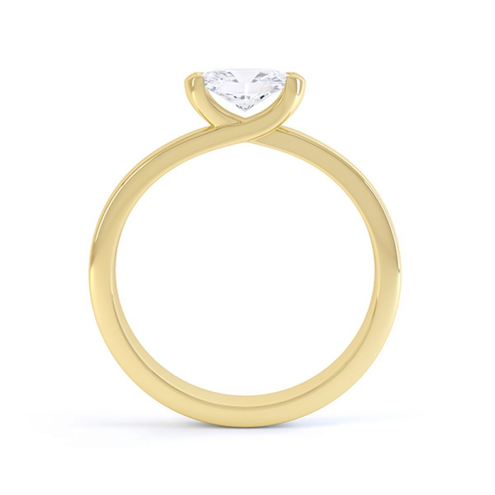 Serenity Oval Diamond Engagement Ring Side View Yellow Gold