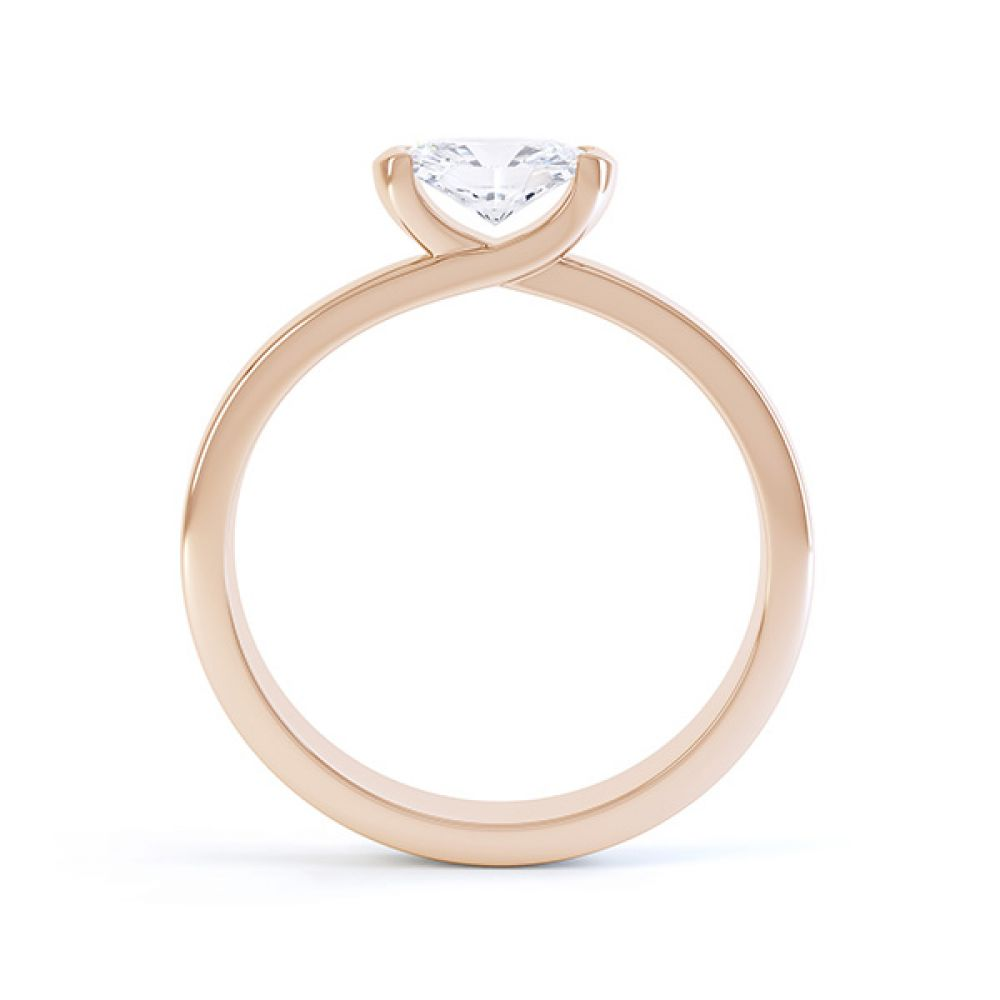 Serenity Oval Diamond Engagement Ring Side View Rose Gold