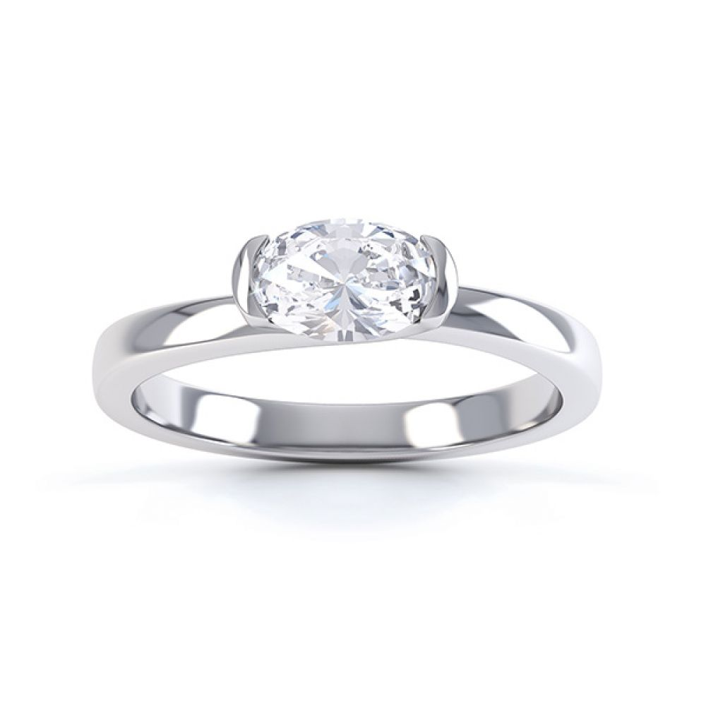 Serenity Oval Diamond Engagement Ring Top View White Gold