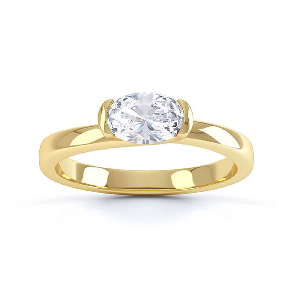 Serenity Oval Diamond Engagement Ring Top View Yellow Gold