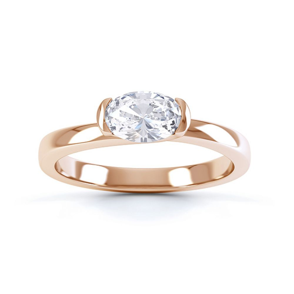 Serenity Oval Diamond Engagement Ring Top View Rose Gold