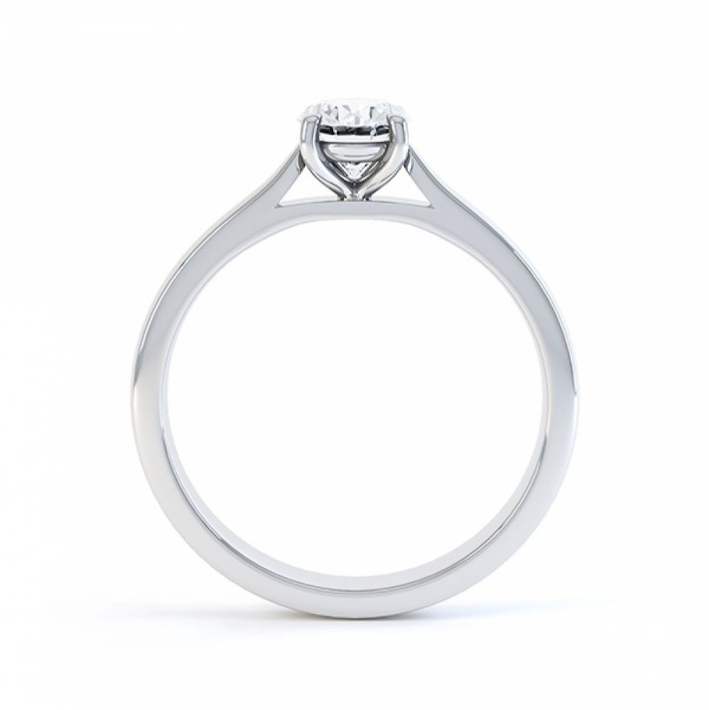 4 Claw Oval Engagement Ring in White Gold Side View