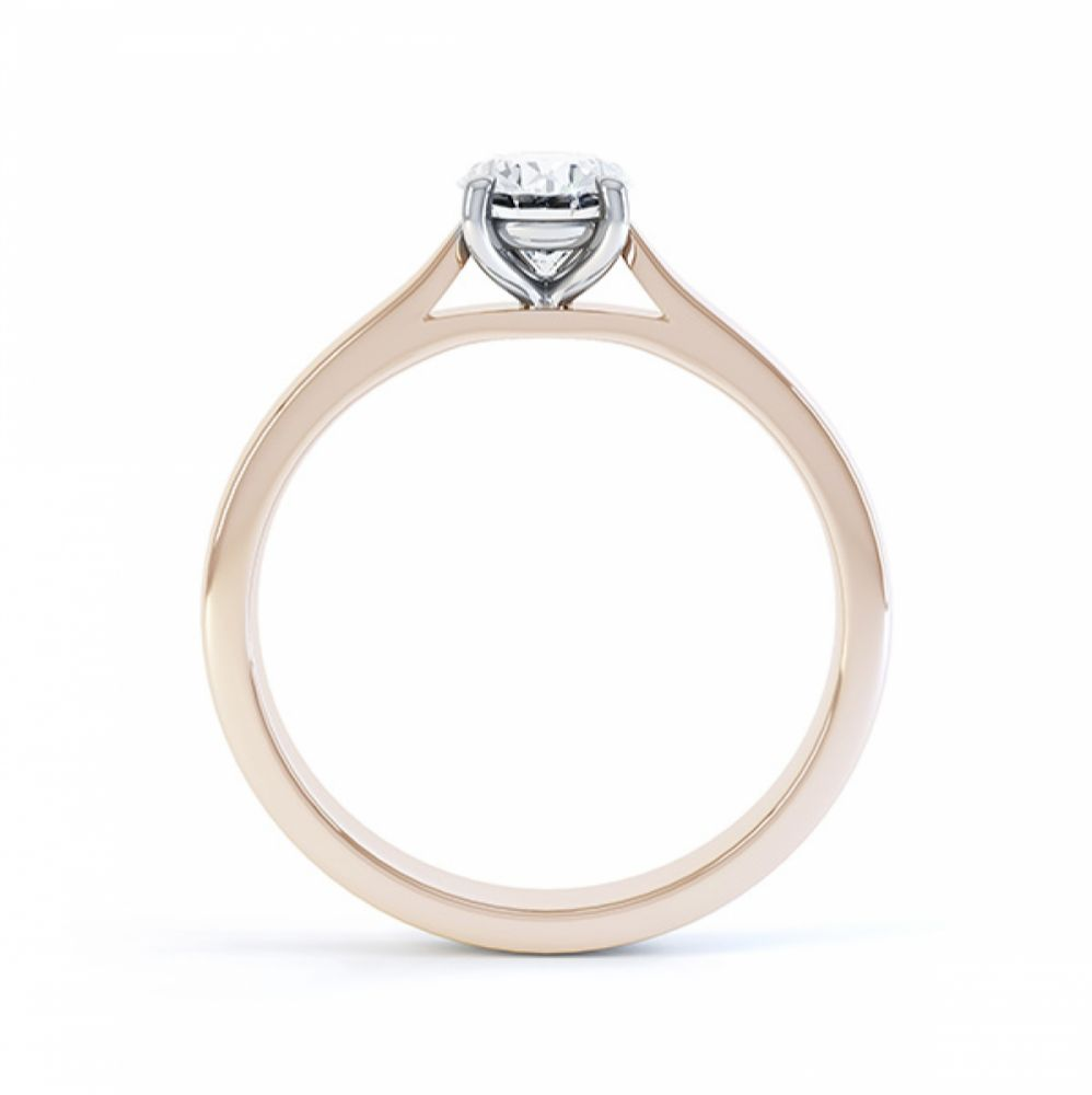 4 Claw Oval Engagement Ring in Rose Gold Side View