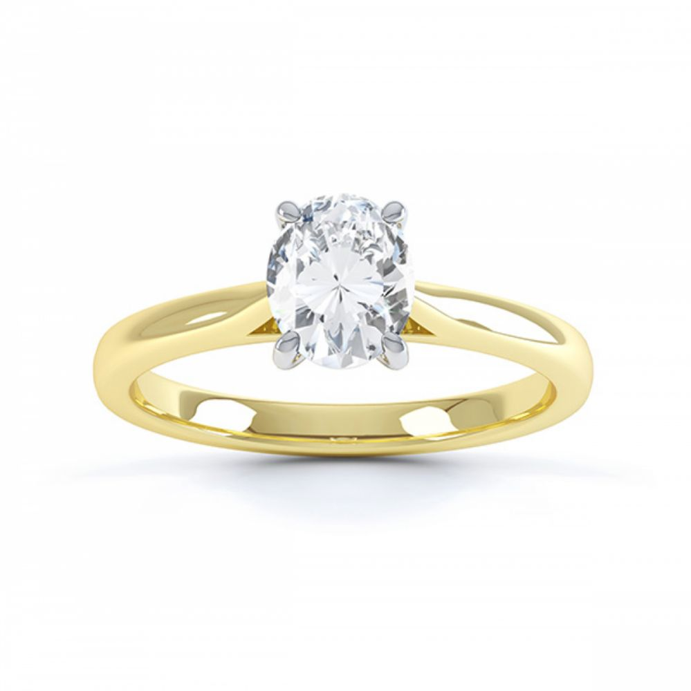 4 Claw Oval Engagement Ring in Yellow Gold top view