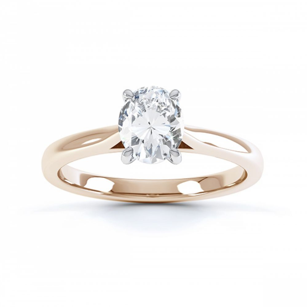 4 Claw Oval Engagement Ring in Rose Gold top view