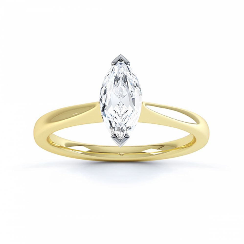Simple Marquise Solitaire Engagement Ring Top View Yellow Gold