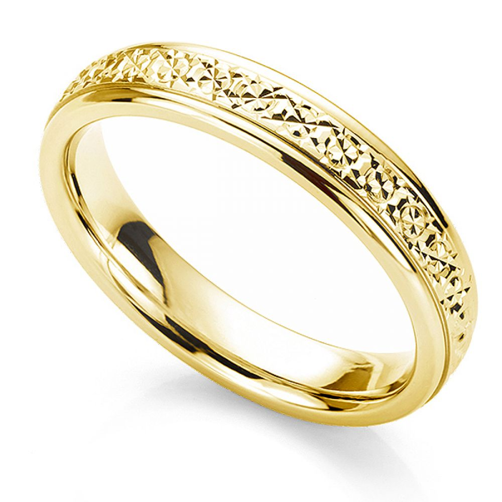 Sparkle cut wedding ring in 18ct Yellow Gold