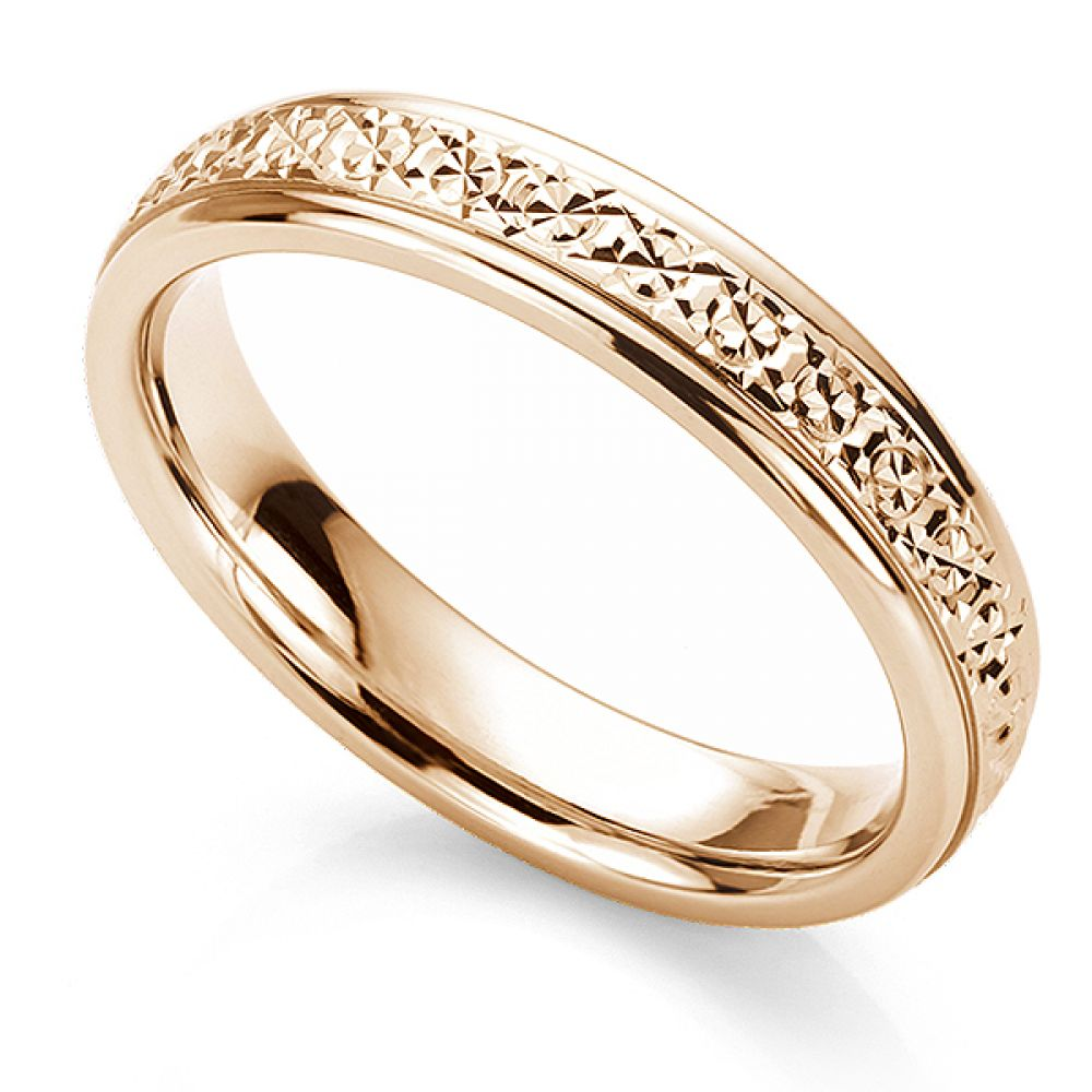 Sparkle cut wedding ring in 18ct Rose Gold