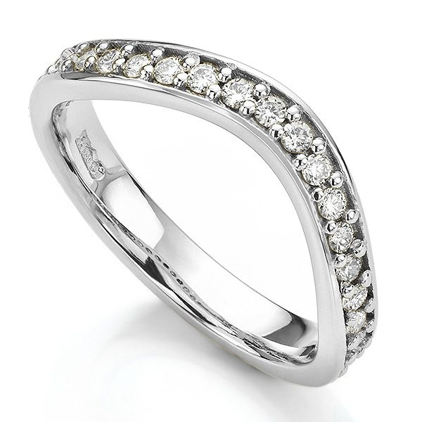Gently Curved Shaped Diamond Wedding Ring Main Image