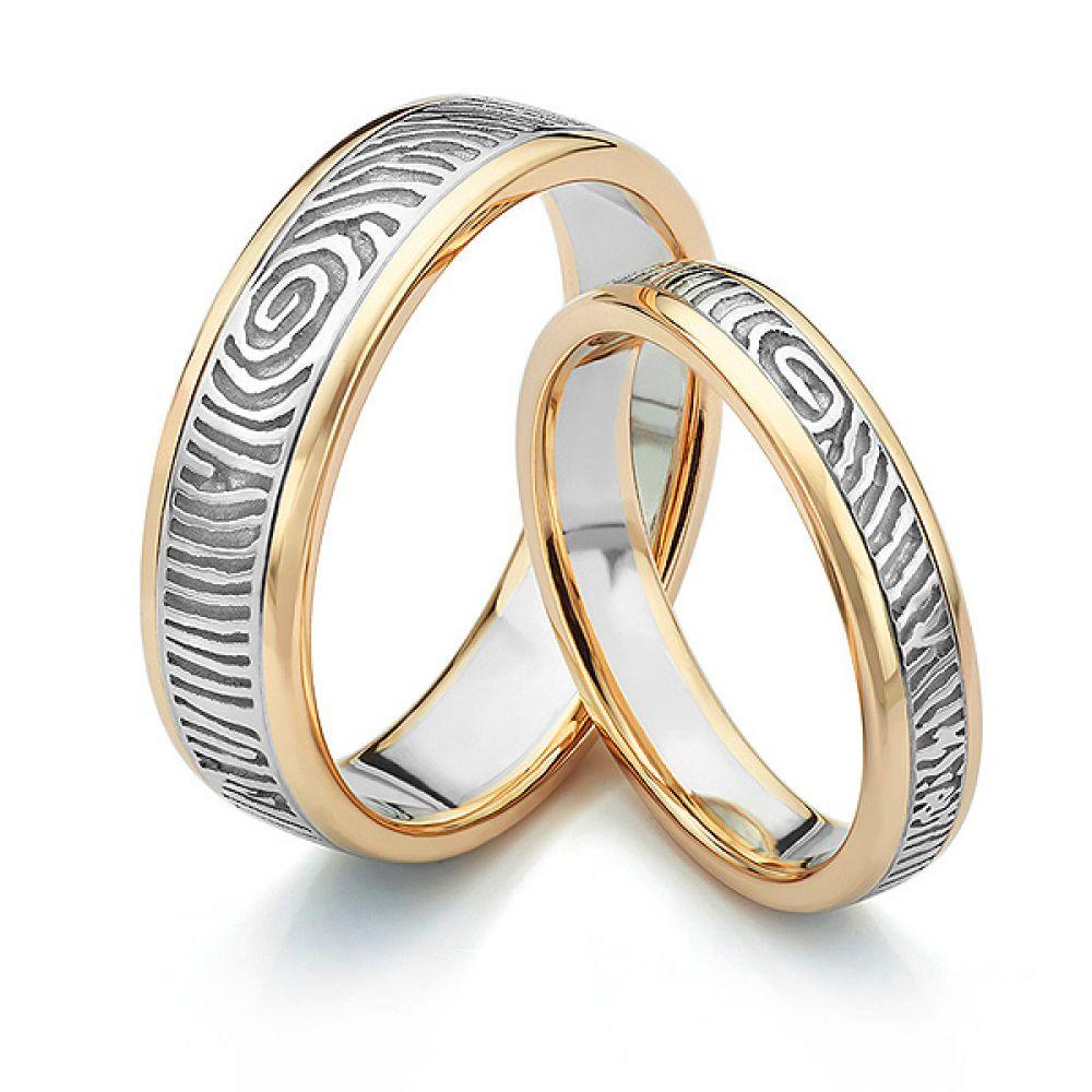 Inlaid fingerprint wedding ring