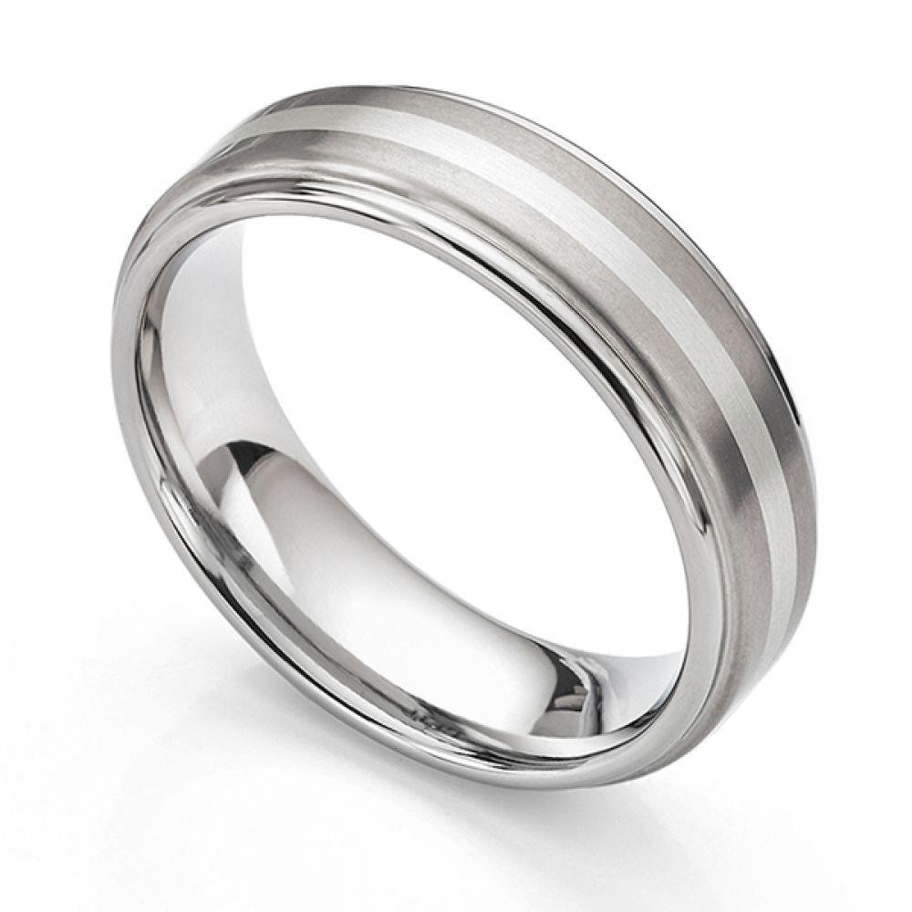 Inlaid titanium and white gold mens wedding ring