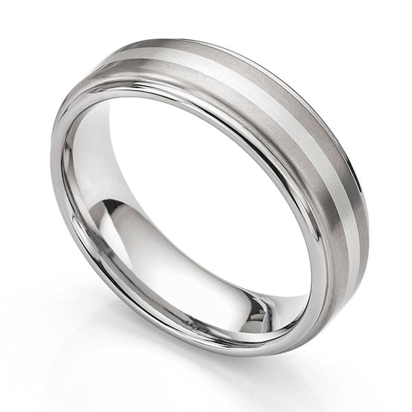 Inlaid Titanium Wedding Band Main Image