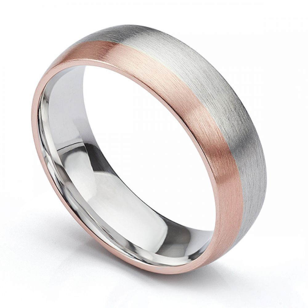 Two colour satin finish wedding ring rose gold and white gold