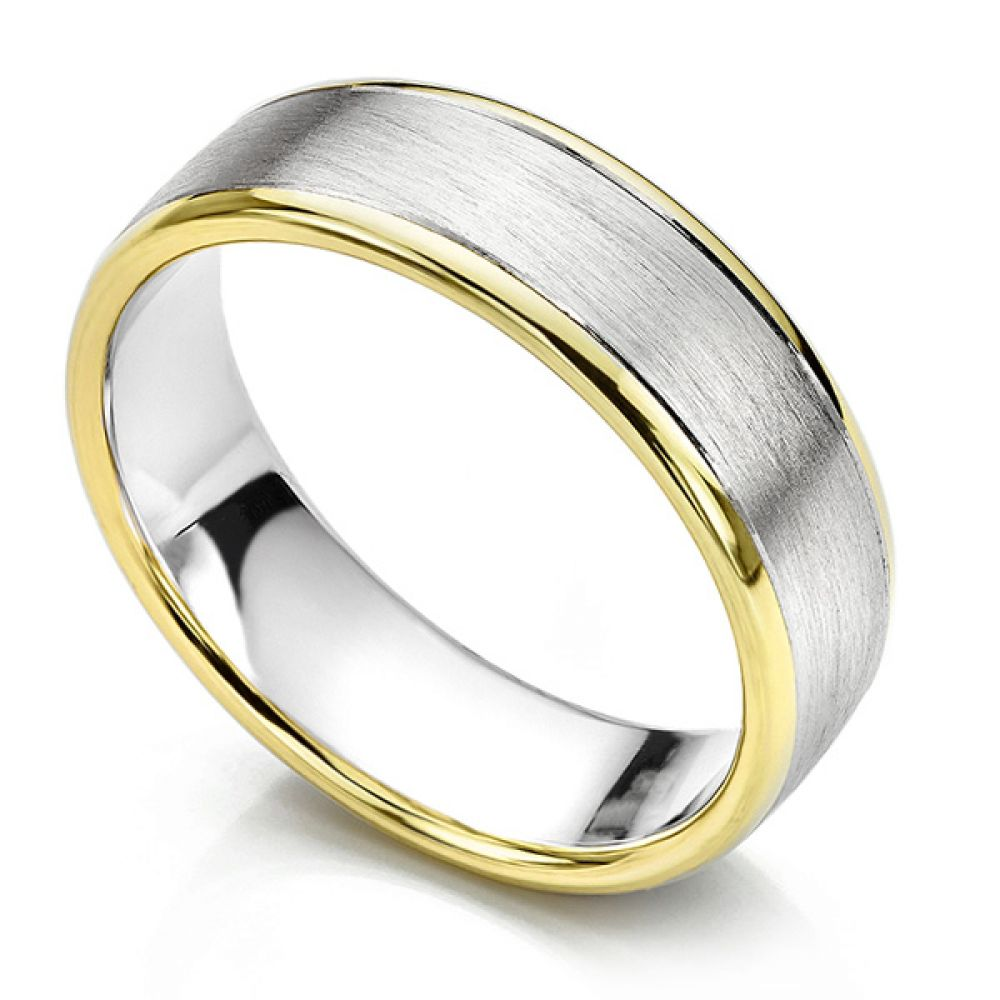 Satin Two Colour Men S Wedding Ring With Polished Edges