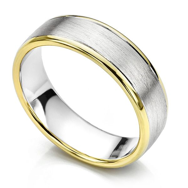 Satin Two Colour Men's Wedding Ring Main Image