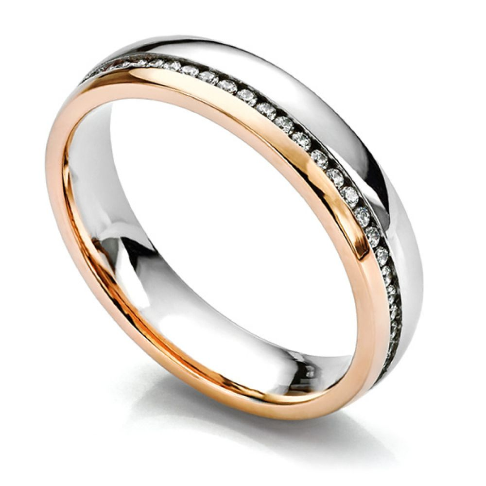 Fully channel set rose gold and white gold 2 colour diamond wedding ring