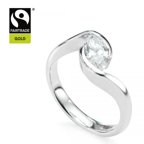 Fairtrade Gold Marquise Diamond Ring Main Image