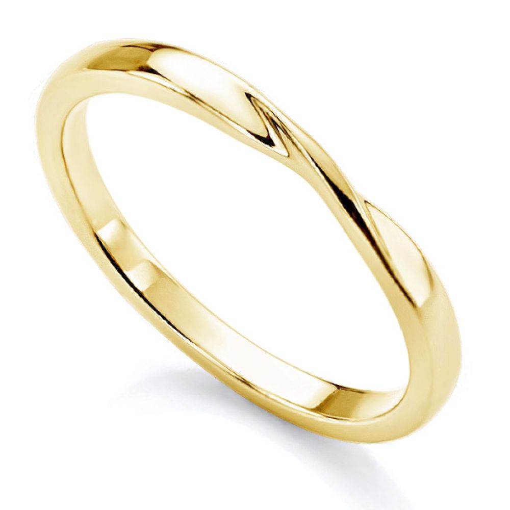 Ribbon twist wedding ring in yellow gold