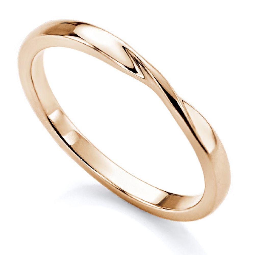 Ribbon twist wedding ring in rose gold