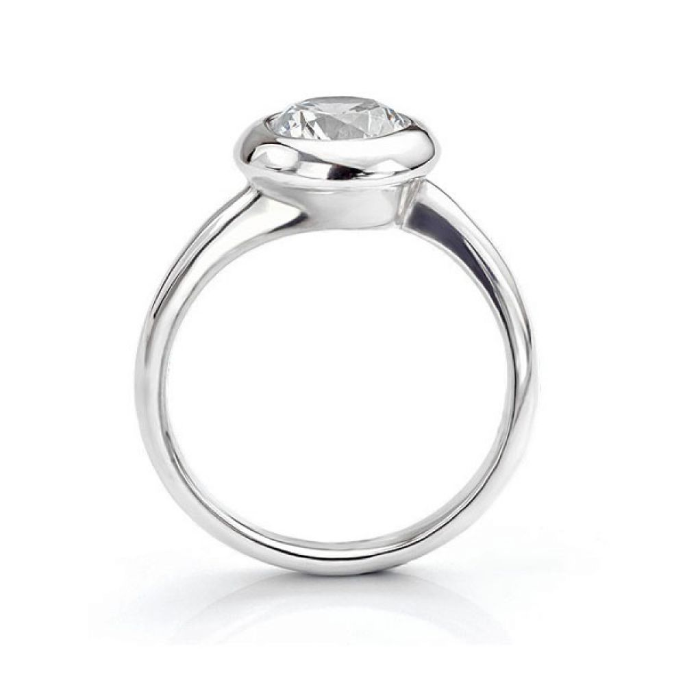Side view of the Domed solitaire engagement ring Platinum