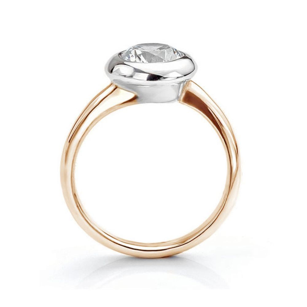 Domed solitaire diamond engagement ring side view rose gold