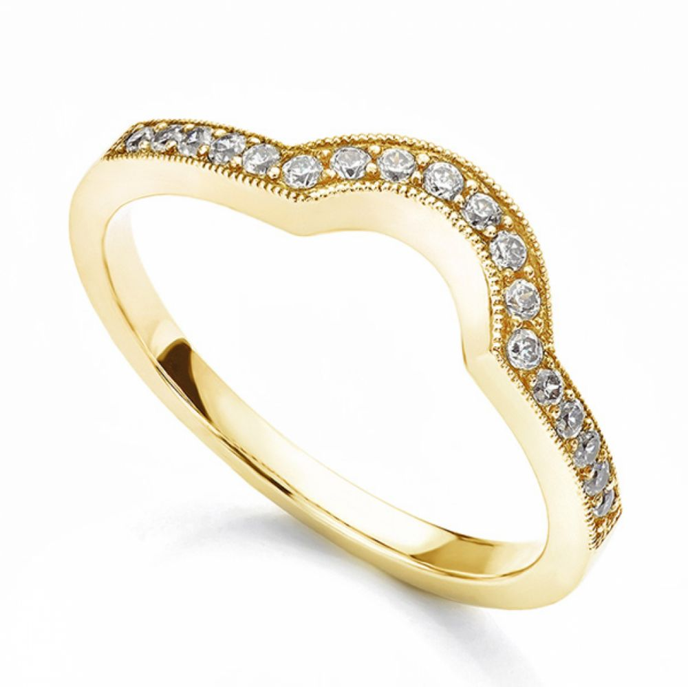Vintage horseshoe shaped diamond wedding ring yellow gold