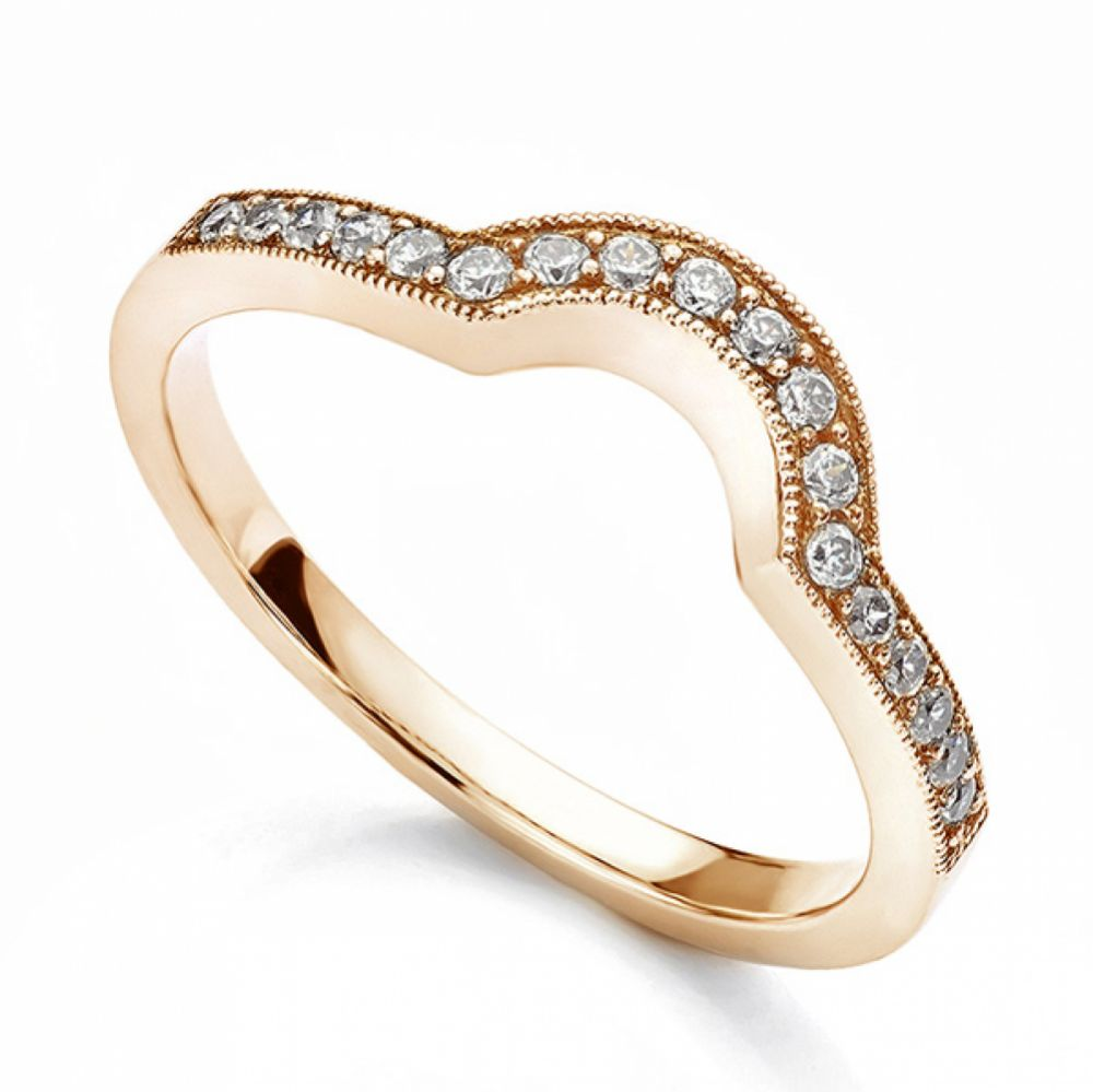Vintage horseshoe shaped diamond wedding ring rose gold