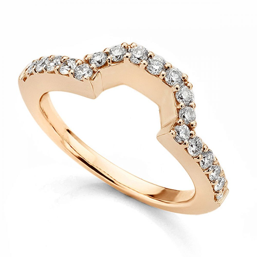Shaped wedding ring for Emerald cut engagement ring setting rose gold