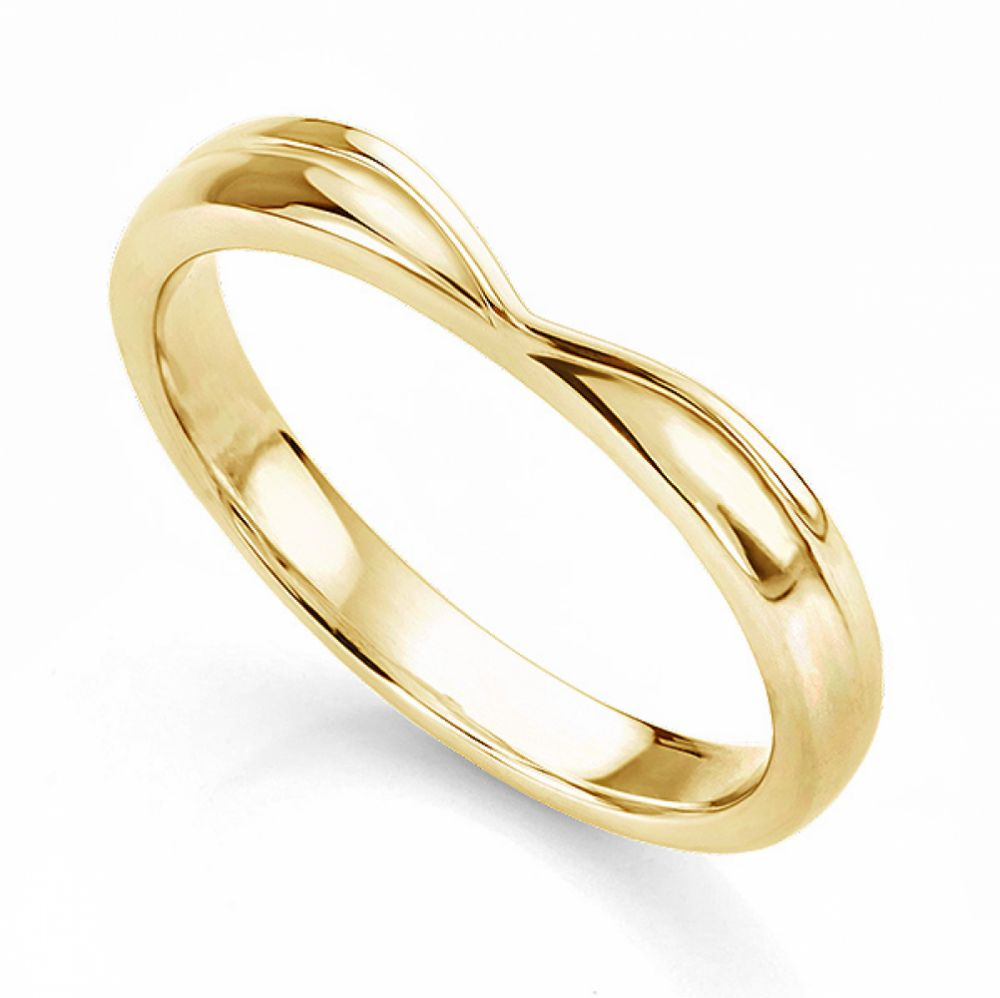 Contoured V Shaped wedding ring in Yellow Gold
