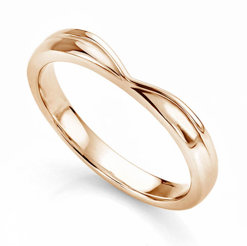 Contoured V Shaped wedding ring in Rose Gold
