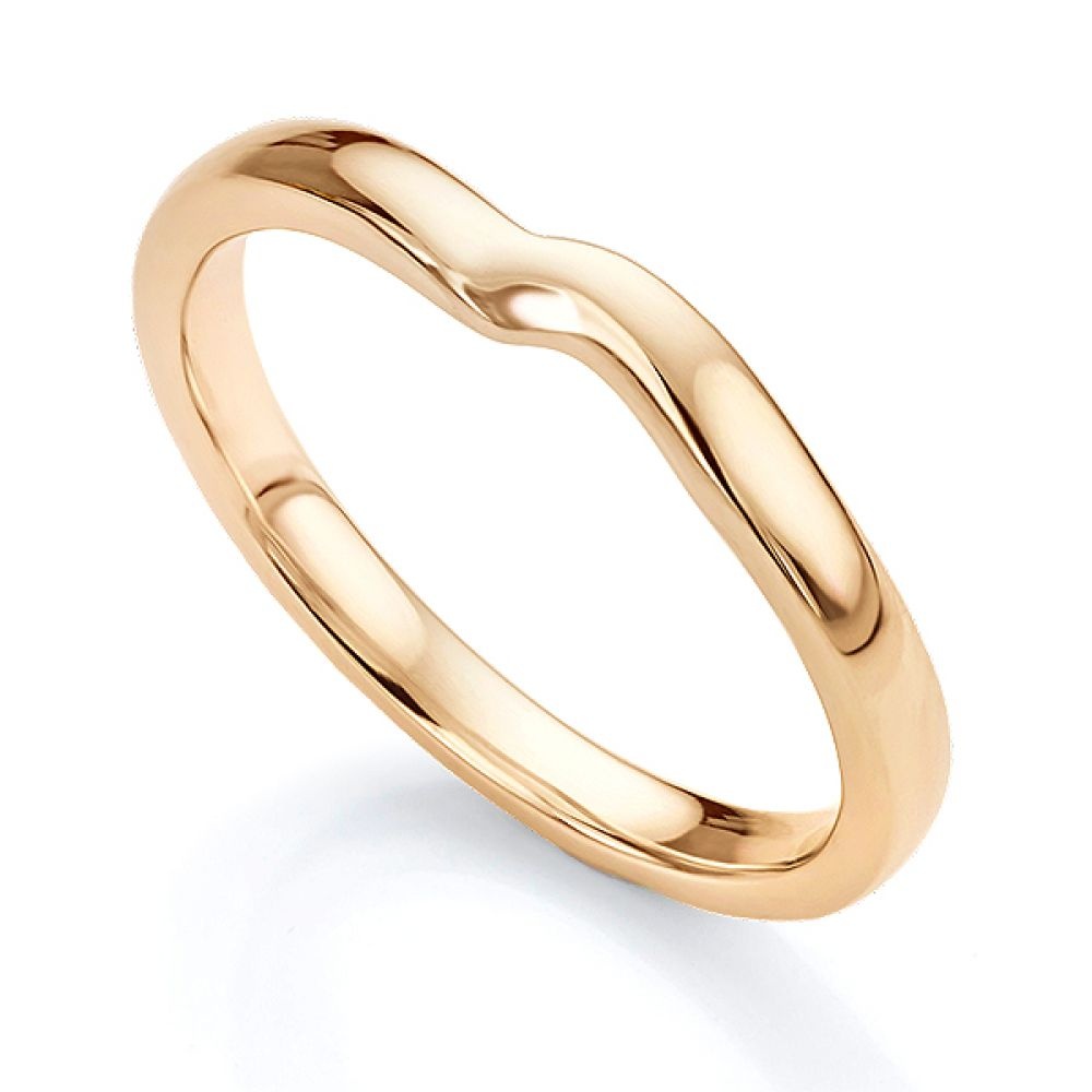 Shaped wedding ring for twist engagement ring rose gold