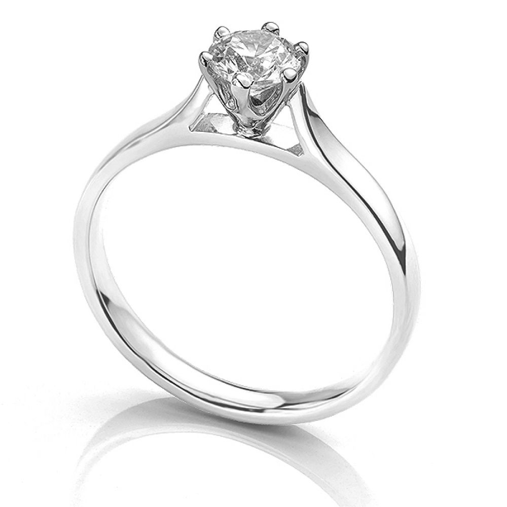 Side view of the Ballerina solitaire engagement ring 0.50cts in Platinum