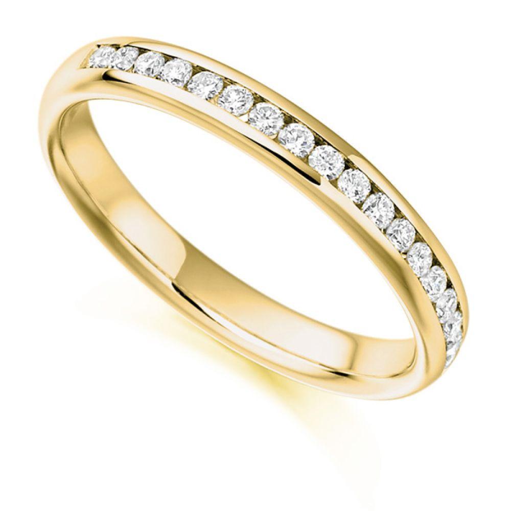 0.22ct Round Diamond Half Eternity In Yellow Gold