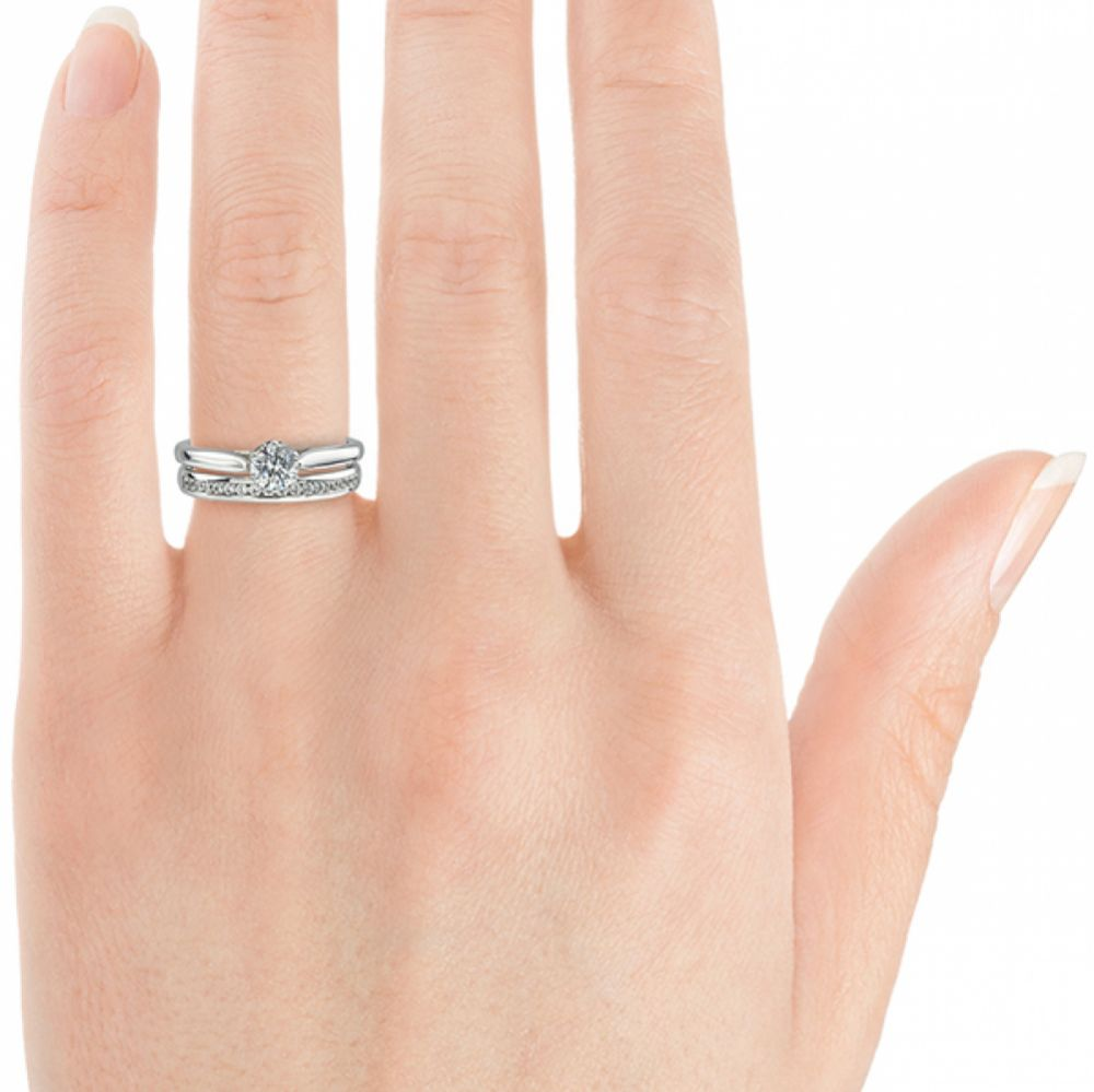 GHR016 half set band shown with the Beatrice engagement ring design