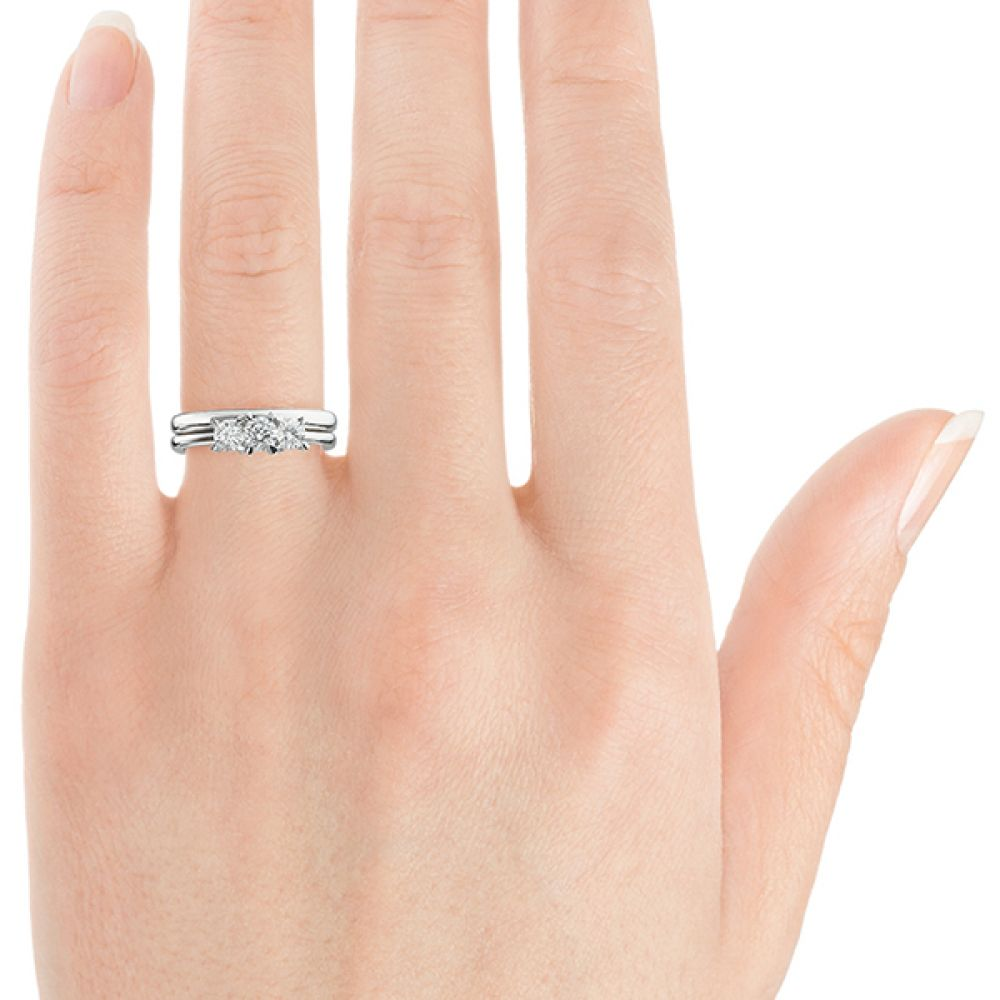 Ciel wedfit three stone engagement ring on finger