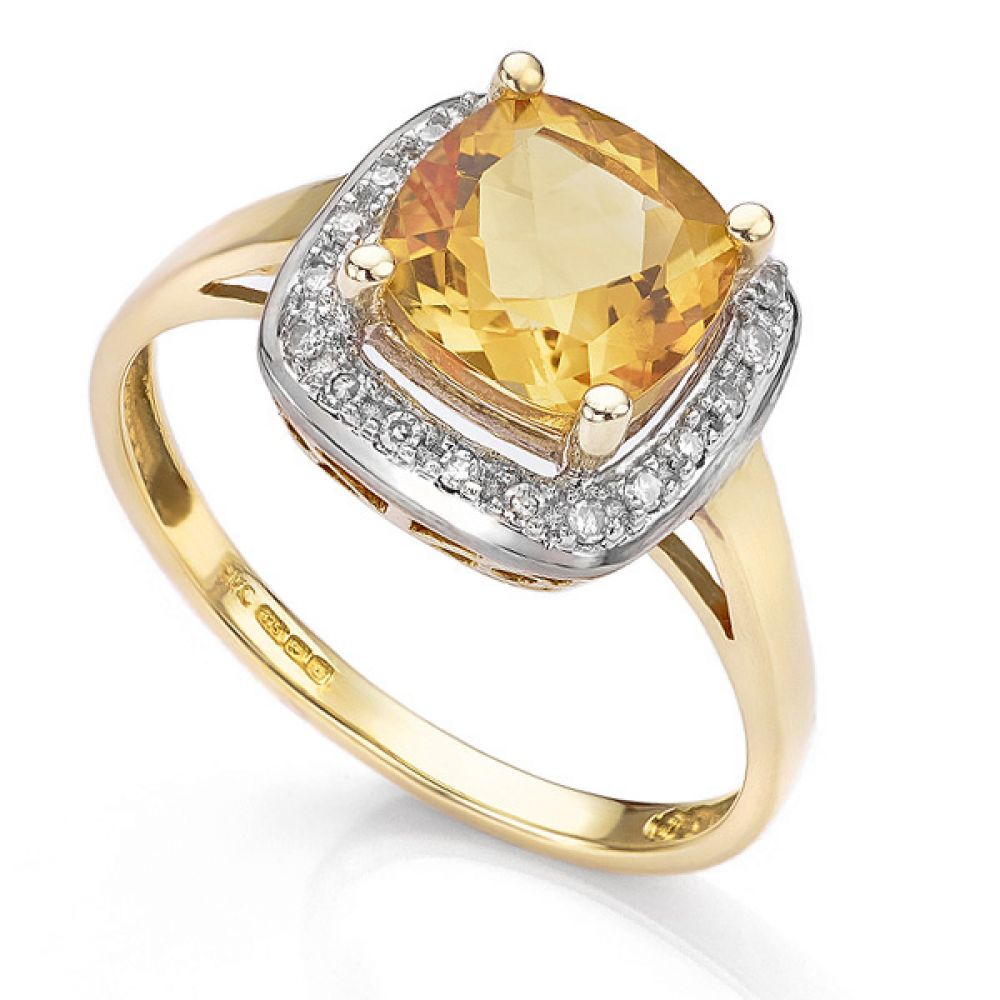 9ct Yellow Gold Citrine and Diamond Ring Top View