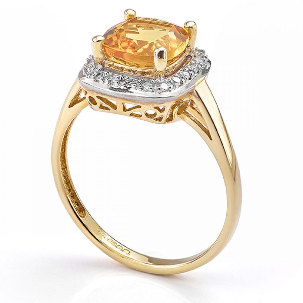 9ct Yellow Gold Citrine and Diamond Ring Side View