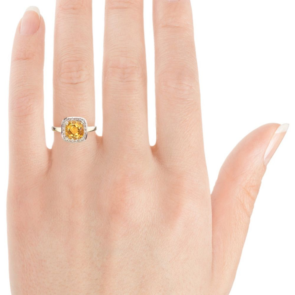 9ct Yellow Gold Citrine and Diamond Ring Close Hand