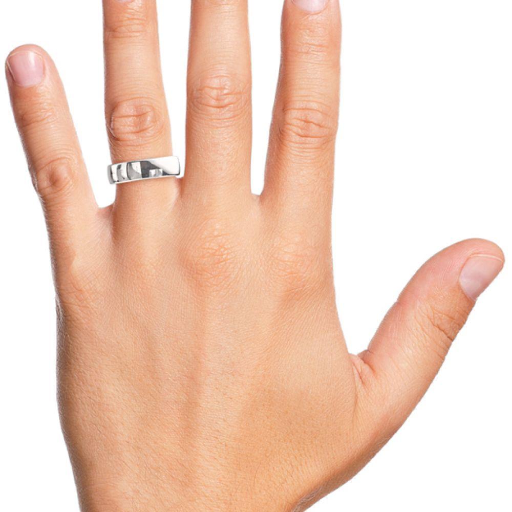 Medium slight court wedding ring 6mm shown on finge